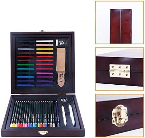 木製ボックスの手描きカラーリードブラシに48個のアートツール
