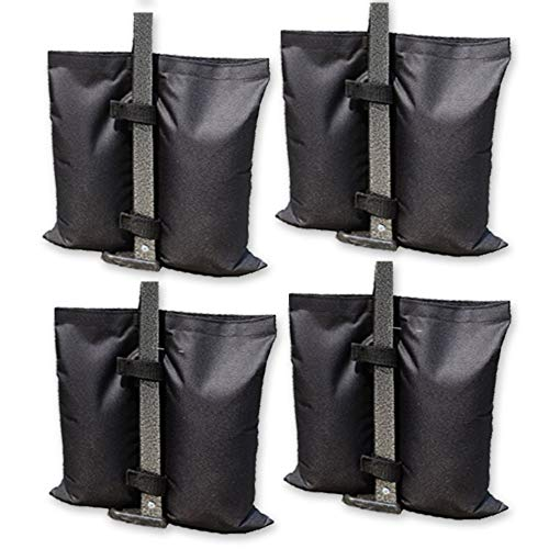 Nice JOZZ 4 Pack Sand Bags for Tent, Weight Bags for Pop Up Canopy ez Up Tents, Sandbag for Instant Sun Shelter Anchor Kit Gazebo, Weights Bag Hold 30lb~35lb, 300 cu, Black