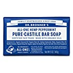 Dr. Bronner's - Pure-Castile Bar Soap (Peppermint, 5 ounce) - Made with Organic Oils, For Face, Body and Hair, Gentle… 2 MOISTURIZING LATHER THAT WON'T DRY YOUR FACE, BODY, OR HAIR: Our bar soaps produce a rich lather that won't dry out your skin! Dr. Bronner's is made with only the purest certified organic oils and will leave your skin feeling soft and smooth. MADE WITH ORGANIC OILS THAT ARE GENTLE and EFFECTIVE: We don't add any chelating agents, dyes, whiteners, or synthetic fragrances—only all-natural, vegan ingredients that are gentle, effective, and mild. Use on your face, body, or hair! NO SYNTHETIC PRESERVATIVES, DETERGENTS, OR FOAMING AGENTS: Our Pure-Castile Bar Soap is made with plant-based ingredients you can pronounce—no synthetic preservatives, thickeners, or foaming agents—good for the environment and great for your skin!