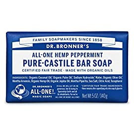Dr. Bronner's - Pure-Castile Bar Soap (Peppermint, 5 ounce) - Made with Organic Oils, For Face, Body and Hair, Gentle… 4 MOISTURIZING LATHER THAT WON'T DRY YOUR FACE, BODY, OR HAIR: Our bar soaps produce a rich lather that won't dry out your skin! Dr. Bronner's is made with only the purest certified organic oils and will leave your skin feeling soft and smooth. MADE WITH ORGANIC OILS THAT ARE GENTLE and EFFECTIVE: We don't add any chelating agents, dyes, whiteners, or synthetic fragrances—only all-natural, vegan ingredients that are gentle, effective, and mild. Use on your face, body, or hair! NO SYNTHETIC PRESERVATIVES, DETERGENTS, OR FOAMING AGENTS: Our Pure-Castile Bar Soap is made with plant-based ingredients you can pronounce—no synthetic preservatives, thickeners, or foaming agents—good for the environment and great for your skin!