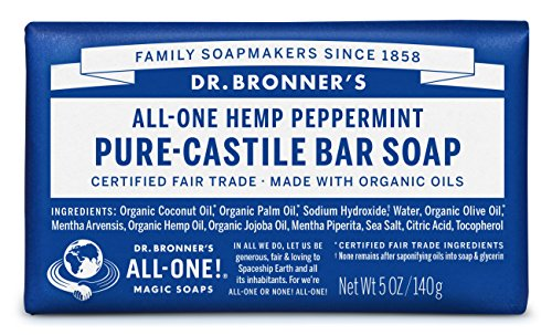 Dr. Bronner's - Pure-Castile Bar Soap (Peppermint, 5 ounce) - Made with Organic Oils, For Face, Body and Hair, Gentle… 1 MOISTURIZING LATHER THAT WON'T DRY YOUR FACE, BODY, OR HAIR: Our bar soaps produce a rich lather that won't dry out your skin! Dr. Bronner's is made with only the purest certified organic oils and will leave your skin feeling soft and smooth. MADE WITH ORGANIC OILS THAT ARE GENTLE and EFFECTIVE: We don't add any chelating agents, dyes, whiteners, or synthetic fragrances—only all-natural, vegan ingredients that are gentle, effective, and mild. Use on your face, body, or hair! NO SYNTHETIC PRESERVATIVES, DETERGENTS, OR FOAMING AGENTS: Our Pure-Castile Bar Soap is made with plant-based ingredients you can pronounce—no synthetic preservatives, thickeners, or foaming agents—good for the environment and great for your skin!