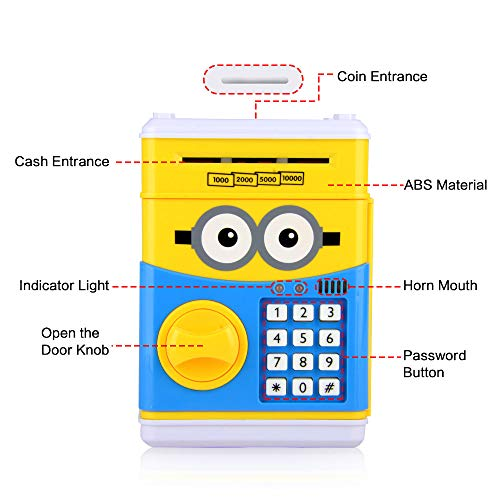 RICISUNG Trustworthy Cartoon Electronic Piggy Bank,ATM Password Piggy Bank Cash Coin Can Auto Scroll Paper Money for Children Gift Toy (Yellow) by RICISUNG (Image #3)