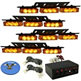 HQRP 36 LEDs 4 Panels Emergency Amber Strobe Deck Dash Grille Lights Tow / Plow Escort Safety for Truck Car Avto + HQRP Coaster