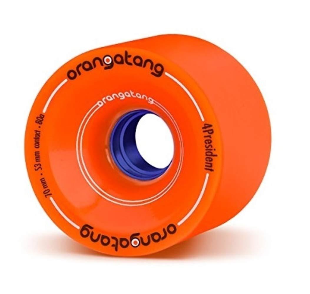 Orangatang 4 President 70 mm 80a Cruising Longboard Skateboard Wheels w/Loaded Jehu V2 Bearings (Orange, Set of 4) by Orangatang