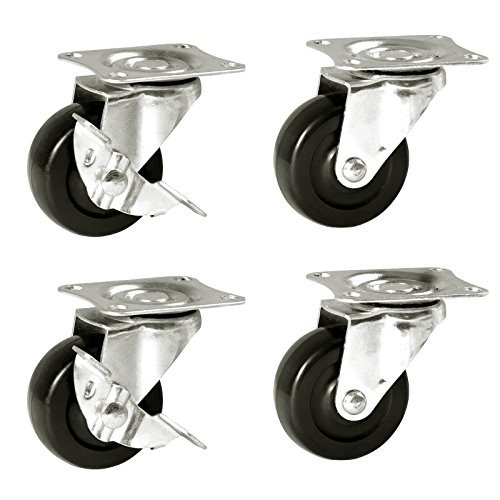 POWERTEC 17211 Low Profile Rubber Swivel Plate Casters, 2-Inch - 4-Pack  - Light Medium Duty Casters
