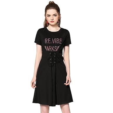 f1ad5412b18 MUSENDA Plus Size Women Black Letter Beading Bandage Slim Dress Casual Mini  Party Dress - Black