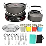 sunsnow 22pcs Camping Cookware Mess Kit Large Size Hanging Pot Pan Kettle with Base Cook Set for 4 Cups Dishes Forks Spoons Kit for Outdoor Camping Hiking and Picnic