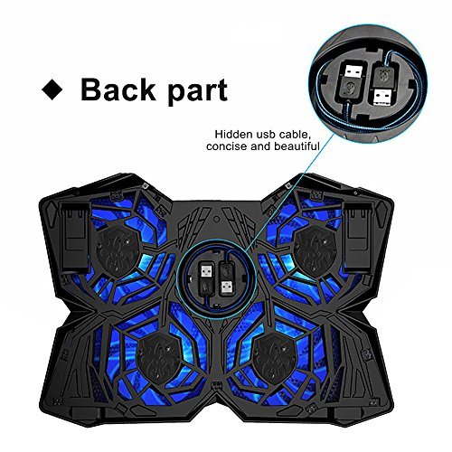 TOPQSC Cooling Fans, New Laptop Cooling Pad for Gaming, Ultra-Portable Laptop Cooler for 15.6 Inch -17 inch Notebooks with 4 Fans 120mm - Black & Blue by TOPQSC (Image #2)