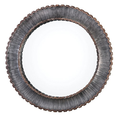 Contemporary Bronze Metal Strips Round Wall Mirror | Large