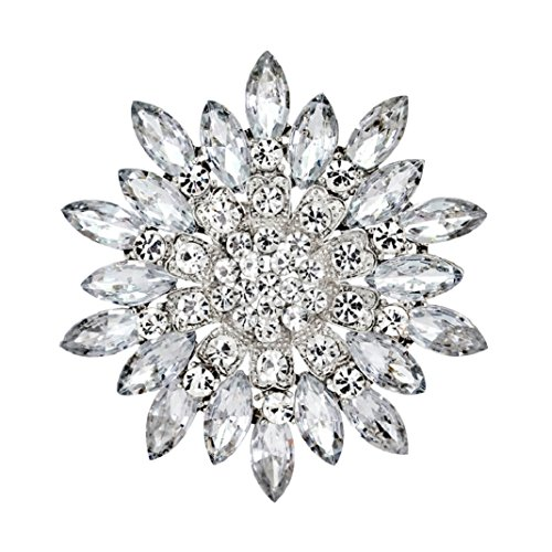 (Polytree Women Flower Crystal Rhinestone Brooch Pins Wedding Bridal Gift (White))