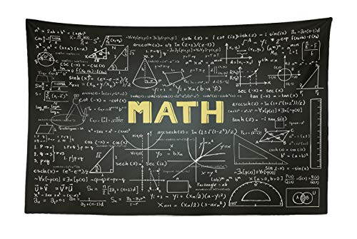 Lunarable Mathematics Classroom Tapestry, Dark Blackboard Backdrop with Math Equations Geometry Axis Art, Fabric Wall Hanging Decor for Bedroom Living Room Dorm, 45 W X 30 L inches, Army Green Yellow