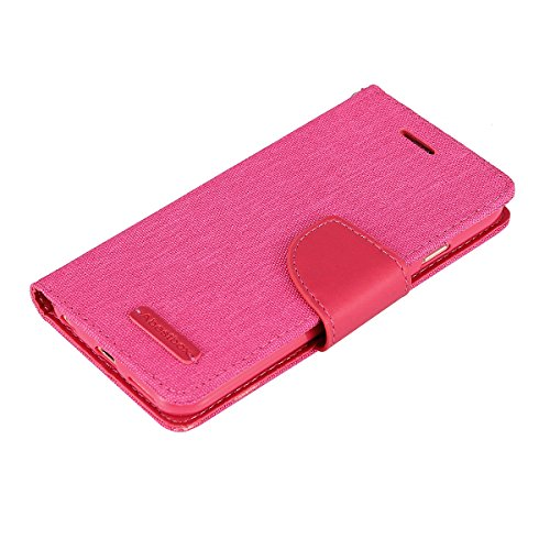 iPhone 6 6s Denim Wallet Case, Abestbox® Luxury Fashion Pu Leather Magnet Wallet Case[Credit Card/ID Card Slots] with Stand Flip Cover[Impact Resistant&Scratch-proof] for iPhone 6/6s 4.7'' (Hot Pink)