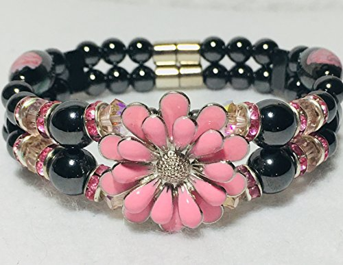 (Magnetic Hematite Therapy Bracelet, Pink Spring Flowers, High Power)