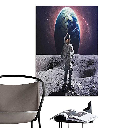 Jaydevn Canvas Wall Art Space Brave Astronaut at The Spacewalk on The Moon Surface with Earth Cosmos Art Image Grey Magenta Rental House Wall W16 x -