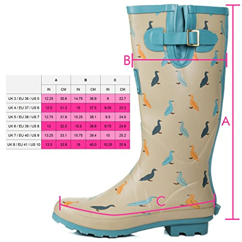 Blue Adjustable Light Boots Flat Spylovebuy Rain Buckle Women's IGLOO Duck Welly OxZnTqH7w