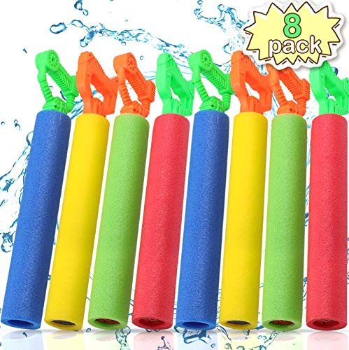 POKONBOY 8 Pack Water Guns for Kids Super Soaker Water Blaster Large Super Light Foam Squirt Guns Shooter Pool Toys - Summer Swimming Pool Beach Garden Water Toys for Boys Girls Adults]()