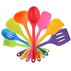 4YANG Silicone Utensil Sets -Heat Resistant Kitchen Gadgets (8 Pieces)-Includes:Turner, Slotted spoon, Ladle, Spoon, Spoon Spatula, Spoonula, Spatula &Basting brush(Colorful)