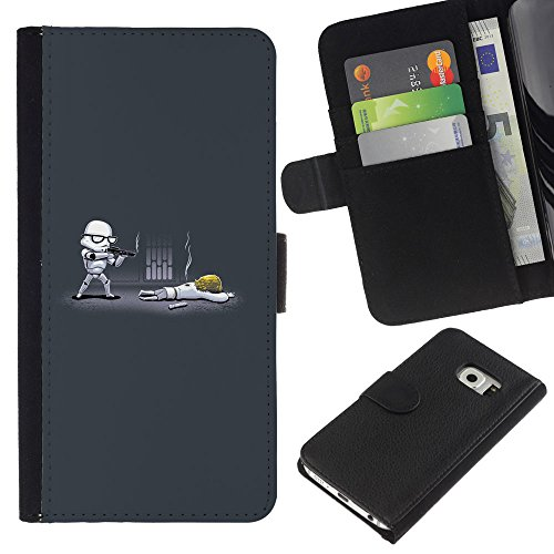 GIFT CHOICE / SmartPhone Cell Phone Leather Wallet Case Protective Cover for Samsung Galaxy S6 EDGE // Cartoon Starwars //