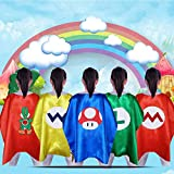 Super Mario Costumes for Kids, Yoshi Costume, Mario Cape and Mario Mask Set for Mario Birthday Party Supplies, Mario Costumes for Boys
