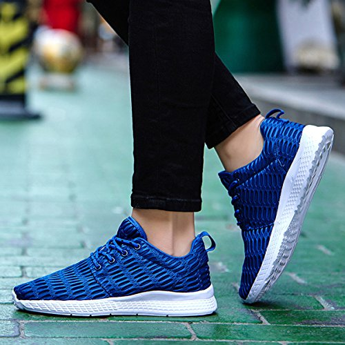 Blue for Shoes Mesh Breathable Sneakers Casual Running Jeneet Athletic Mens Womens vZw04q46