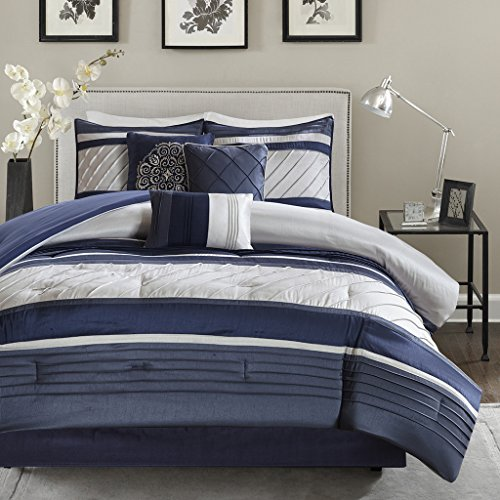 Madison Park Blaire Queen Size Bed Comforter Set Bed in A Bag - Navy, Stripe - 7 Pieces Bedding Sets - Faux Silk Bedroom ()