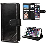 Case+Tempered_Glass, Fits Apple iPhone 6 Plus/6S Plus MYBAT Black Genuine Leather Wallet Purse with Credit Card Slots
