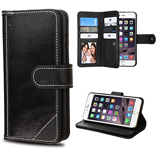Best Generic Leather Wallet - Case+Tempered_Glass, Fits Apple iPhone 6 Plus/6S