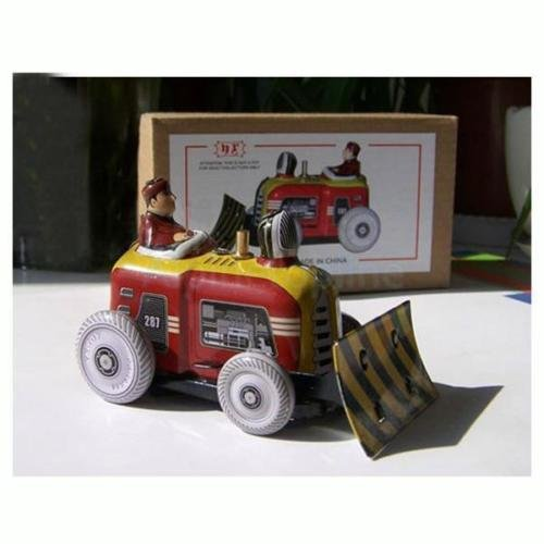 Shalleen Vintage Bulldozer Tractor Model Tin Toy w/ Wind-up Key Collectible Adult Toys (Slinky Dog Toy Story Costume)