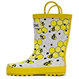 kids bee rain boots - Lone Cone Kids' Bumble Boots - Waterproof Rubber Rain Boots with Easy-On Handles, White, 6 M US Toddler
