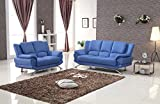 Matisse Milano Leather (Sofa & Loveseat) Blue For Sale