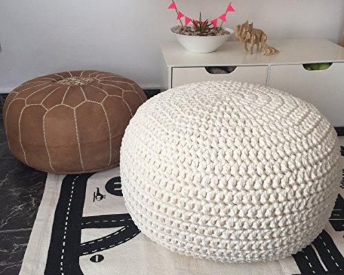 White Knit Round Ottoman - Nursery Foot Rest - Kids Pouf Ottoman