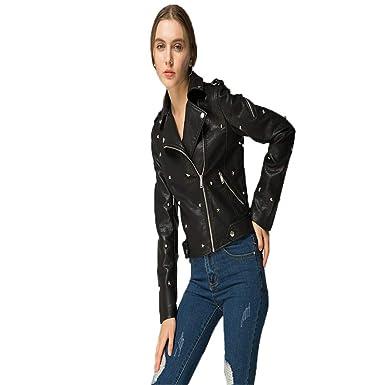ead1e37267 NSEJACOA Jacket Coat Women Leather Jacket Slim Punk Leather Jacket ...