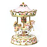 THE SAN FRANCISCO MUSIC BOX COMPANY Hearts and Roses 3-Horse Carousel