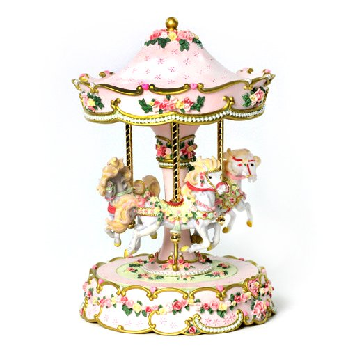 THE SAN FRANCISCO MUSIC BOX COMPANY Hearts and Roses 3-Horse Carousel by The San Francisco Music Box Company