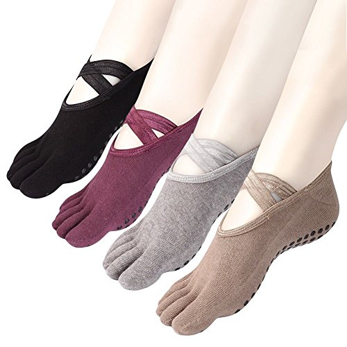 Yoga Socks Non Slip Skid Low Cut Barre Pilates with Grips for Women 4 Pack by Cosfash