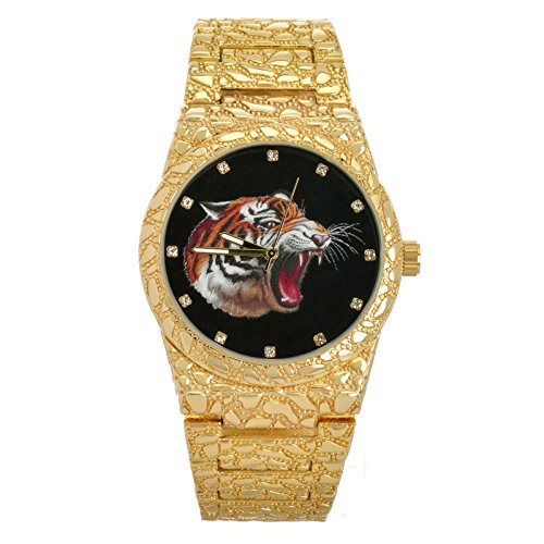 Men's Hip Hop Nugget Iced Out CZ Gold Plated Tiger Metal Band Watches WM 8364T GBK
