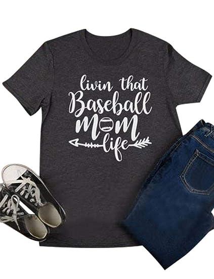 b13cf405cbc66 Nlife Women Livin That Baseball Softball Mom Life T-Shirt Crew Neck Solid  Color Casual Tops Blouse