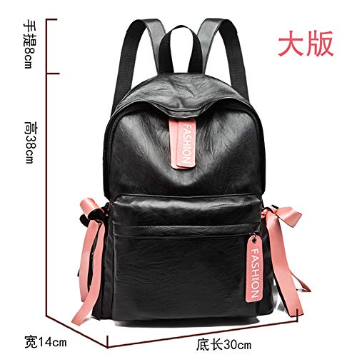 Mochila Casual Moda Pu Soft Casual Black de Personalidad New hombro 2018 Leather Trumpet Wave Bolsa Bag aqaF5r