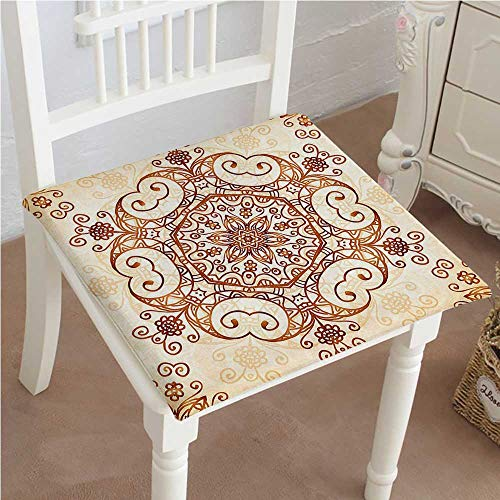 Mikihome Outdoor Chair Cushion Ornamental Swirled Flower Baroque Redwood Peach Comfortable, Indoor, Dining Living Room, Kitchen, Office, Den, Washable ()