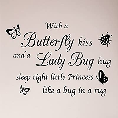 "32""x24"" With a Butterfly Kiss and A Lady Bug Hug Sleep Tight Little PRINCESS Like a Bug in a Rug Nursery Wall Decal Sticker Art Mural Home Decor Quote Wall Decal Sticker Art Mural Home Decor Quote"