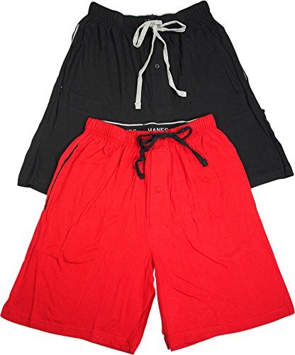 Hanes Men's Jersey Lounge Drawstring Shorts with Logo Waistband 2-Pack, Biking Red/Black, Large by Hanes