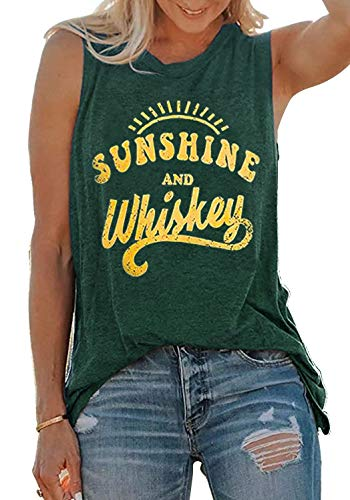 T-shirt Sunshine Day - Sunshine and Whiskey Tank Tops Women Sleeveless Casual Letter Print Drinking Party Tops T-Shirt Summer Beach Vest (Large, Green)