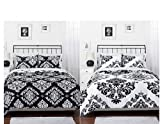 Black & White Damask Reversible Twin Size Comforter & Sham Set by Morgan Teen