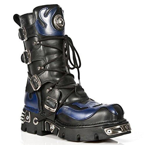 Leather Skull Goth Boots New Devil Blue Rock Rock Biker S5 Black 107 zWBPqfBI06