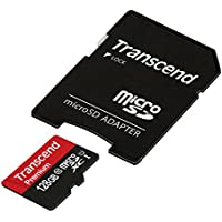 Transcend 128GB MicroSDXC Class10 UHS-1 Memory Card with Adapter 45 MB/s (TS128GUSDU1)
