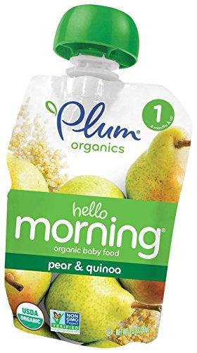 Plum Organics Stage 1 Hello Morning - Pear & Quinoa - 3.5 oz - 6 pk