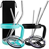10 Pieces 30oz Tumbler Holders Handles + Tumbler Lids + Stainless Steel Straws + Cleaning Brushes, SourceTon Accessories Kit for Yeti Rambler Rtic (OLD STYLE ONLY) Ozark Trail Berg SIC