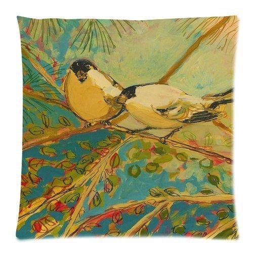 Jtartstore Two birds 18 x 18-inch retro vintage linen cotton
