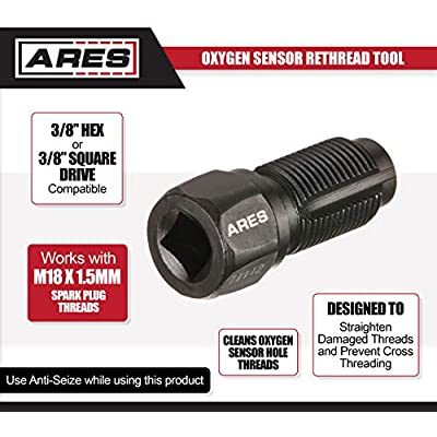 ARES 71112 - Oxygen Sensor Rethread Tool - Easily Cleans Oxygen Sensor Hole Threads - Works with M18 x 1.5mm Spark Plug Threads: Automotive