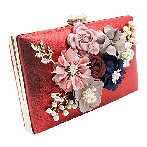 Women Bag Evening Handbag Box Lady Purse Pink Bridal Hard Red Floral Clutch Wiwsi Prom qaSvII